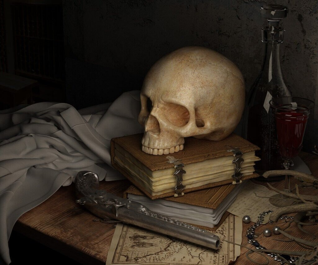 A skull over a book in a rustic environment